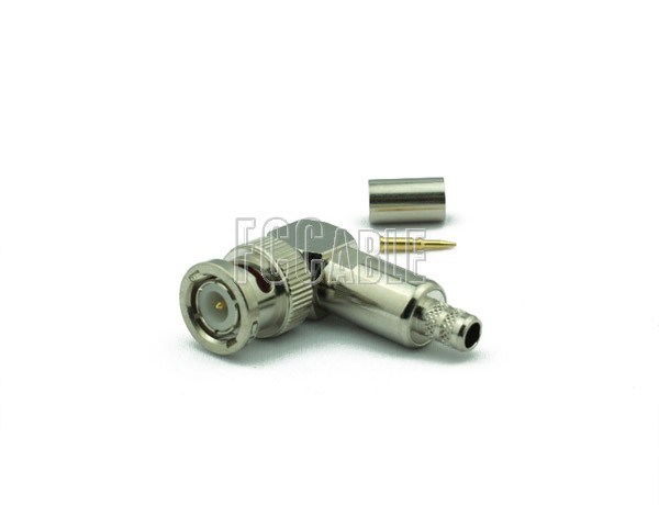 RF BNC Reverse Polarity Male Connector Right Angle CRIMP For RG55, RG142, RG223, RG400