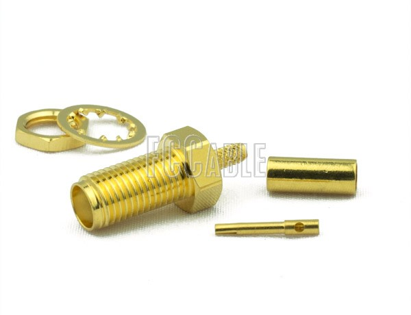 RF SMA Female Connector Bulkhead CRIMP For RG174, RG188, RG316, B7805A