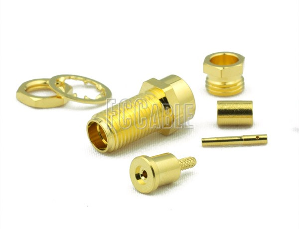 RF SMA Female Connector Bulkhead CRIMP For RG178, RG196