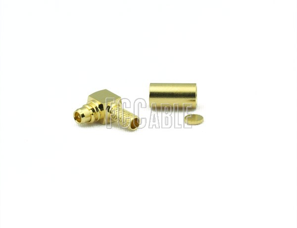 RF MMCX Plug Connector Right Angle CRIMP For RG188DS, RG316DS