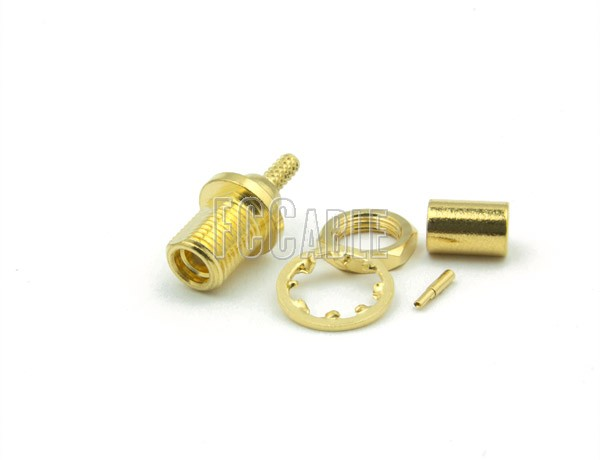 RF MMCX Jack Connector Bulkhead CRIMP Mntg Fig. D-2 For RG178, RG196