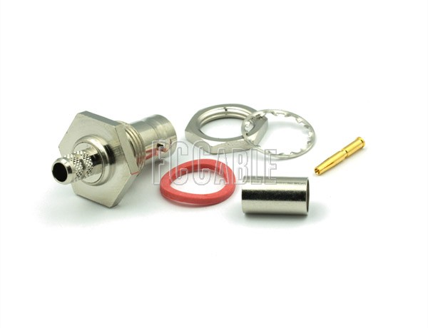 RF BNC Female Connector Bulkhead CRIMP Mntg Fig. D-12 For RG59, RG62, RG140, RG210