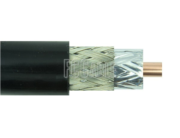 RF Flexible Times LMR400 50 Ohm Low Loss Coax Cable 0.405 inches Diameter, Double Shield, Black PE Jacket