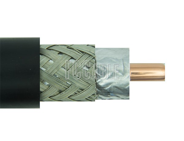 RF Flexible Times LMR500 50 Ohm Low Loss Coax Cable 0.500 inches Diameter, Double Shield, Black PE Jacket